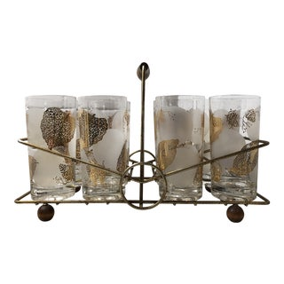 1960s Vintage Cocktail Glasses in Brass & Teak Caddy - Set of 8 For Sale