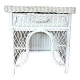 Image of Vintage White Wicker Night or Plant Stand With Drawer For Sale