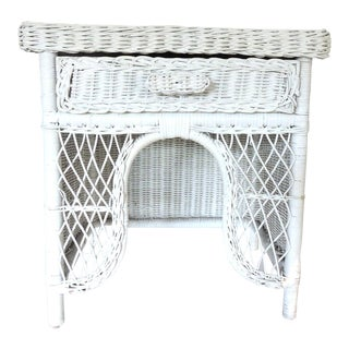 Vintage White Wicker Night or Plant Stand With Drawer For Sale