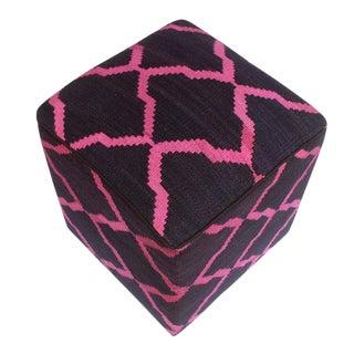 Arshs Deirdre Blue/Pink Kilim Upholstered Handmade Ottoman For Sale