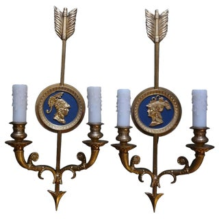 Italian Neoclassical Style Brass Arrow Sconces-A Pair For Sale