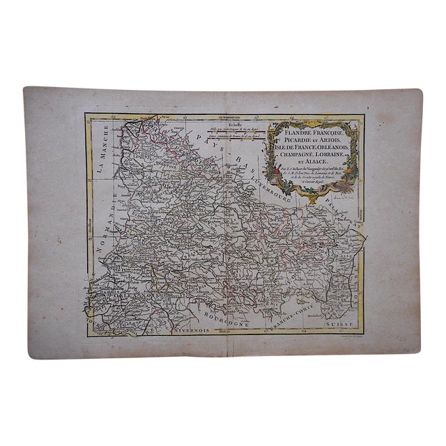 18th C. Antique French Map-Champagne, Lorainne & Alsace For Sale