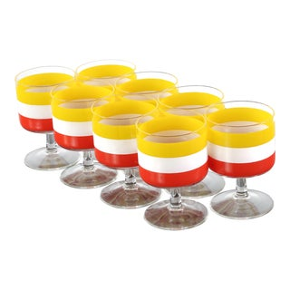 1970s Mid Century Drinking Glasses Attributed to Georges Briard - Set of 8 For Sale