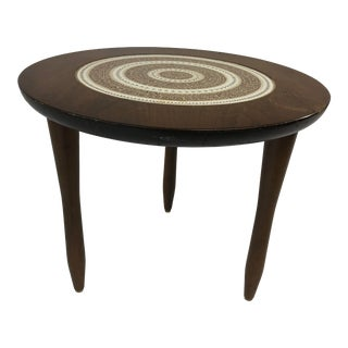 Mid Century Modern Tile Top Round Side Table For Sale