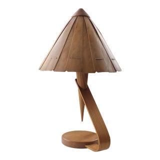 1950's Scandinavian Oak Table Lamp For Sale