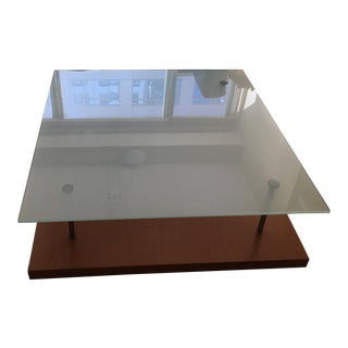 1990s Ligne Roset Pascal Mourgue Square Glass Coffee Table For Sale