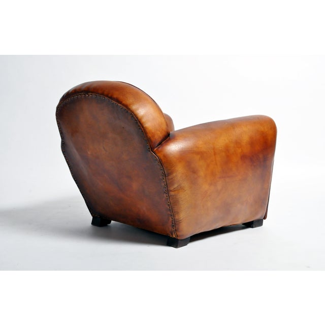 1960s Vintage French Brown Leather Armchairs - a Pair For Sale In Chicago - Image 6 of 13