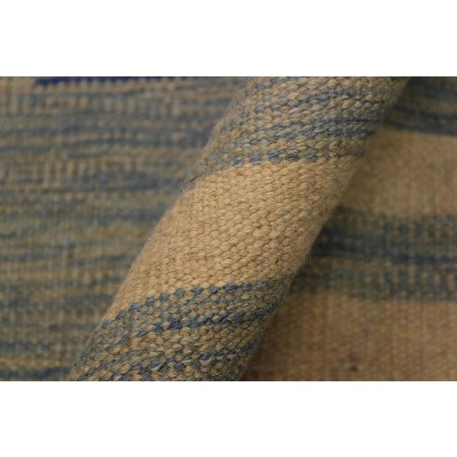 Modern Bauhaus Shultz Blue Hand-Woven Kilim Wool Rug - 8′11″ × 12′3″ For Sale In New York - Image 6 of 8