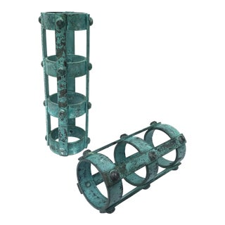Industrial Metal Cylinders in Arsenic Green For Sale