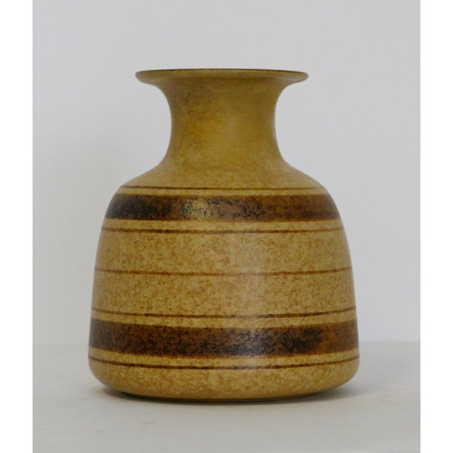 Mid-Century Modern Stoneware Striped Vase For Sale - Image 3 of 5