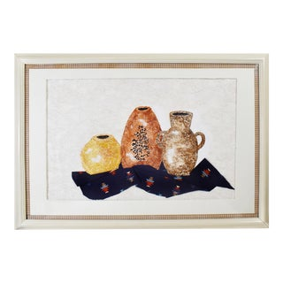 Late 20th Century Still Life Pottery Urn Vase Painting and Fabric Collage With Frame For Sale