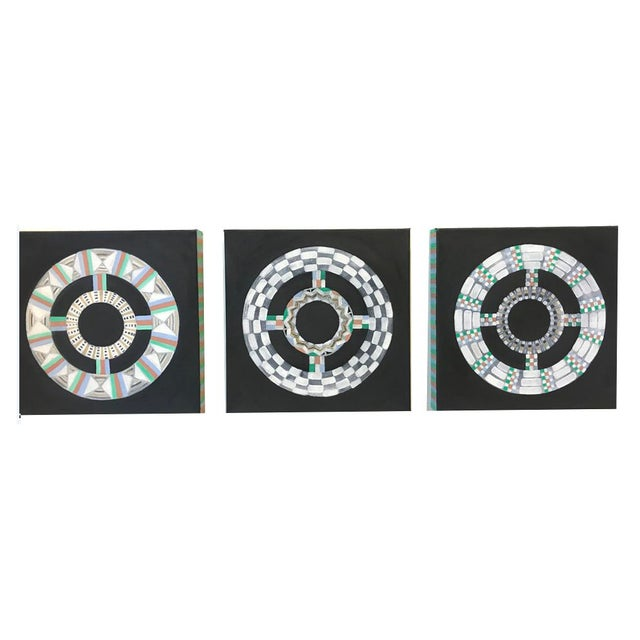 Natasha Mistry Contemporary Black Oil Paintings - Set of 3 For Sale - Image 9 of 11
