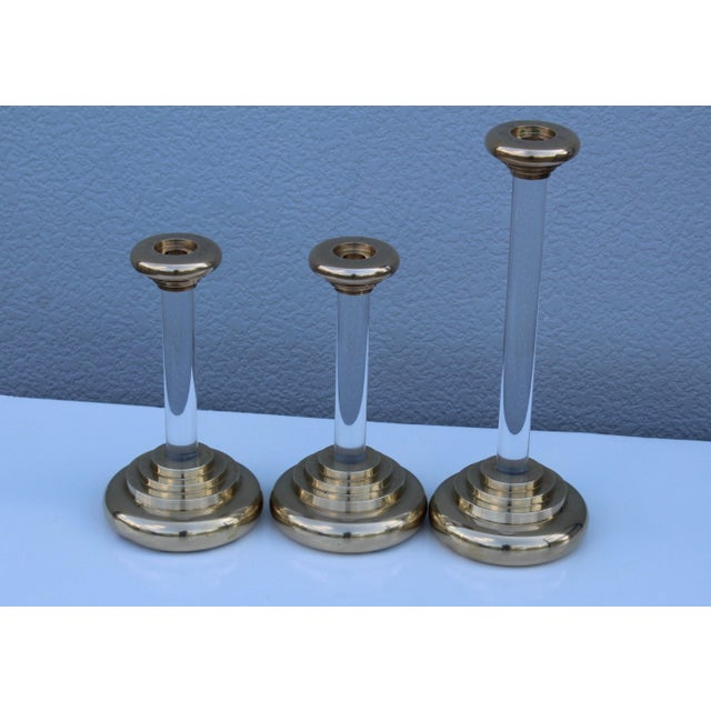 1980s Lucite and Brass Large Candleholders For Sale In New York - Image 6 of 13