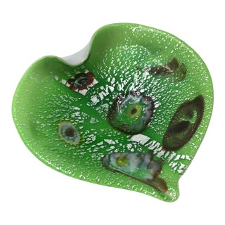 Lime and White Murano Glass Dish For Sale