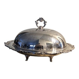 Vintage Mid Century Silver Serving Plate Tray & Dome For Sale