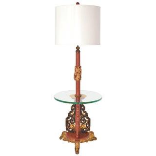 Hollywood Regency Asian Carved Wood Floor Lamp For Sale