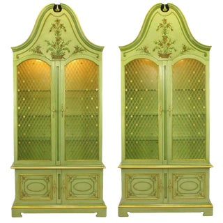 Pair of John Widdicomb Green Regency Style Display Cabinets For Sale