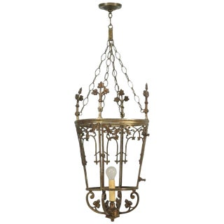 Antique French Solid Bronze Lantern For Sale