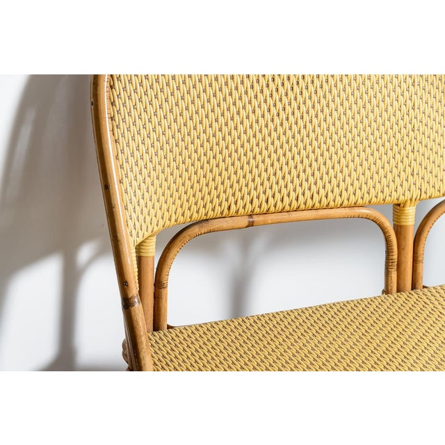 1970s 1970s Vintage French Maison Gatti Rattan and Bamboo Banquette Settee For Sale - Image 5 of 13