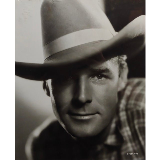 """Randolph Scott - 1940s Hollywood Portrait by George Hurrell -Signed frame size 11 x 13"""" 8x10"""" photograph -signed in verso"""