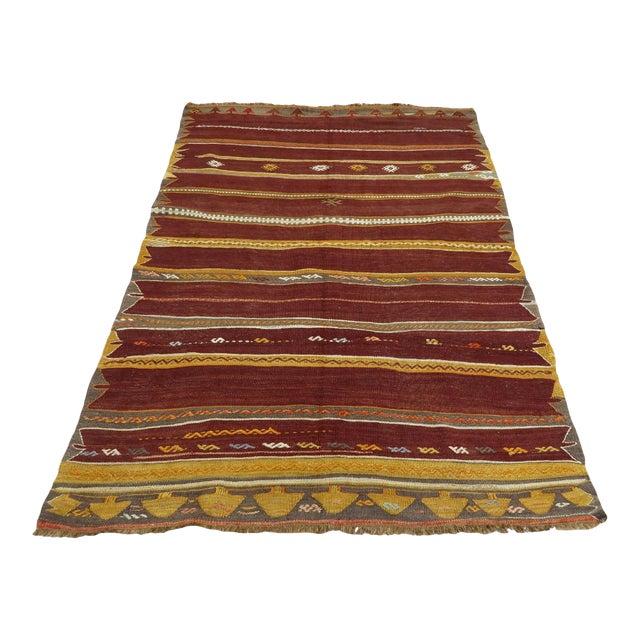 Anatolian Kilim Tribal Turkish Kilim Rug-4′8″ × 6′1″ For Sale