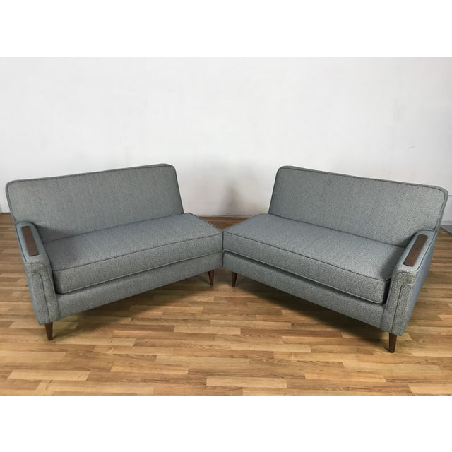 Textile Mid-Century Two Pc. Blue Sectional Sofa For Sale - Image 7 of 7