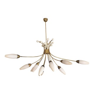 Large Sputnik Brass Ceiling Lamp by Rupert Nikoll, 1950s For Sale