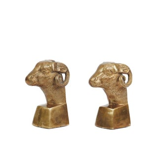 Mid-Century Regency Brass Ram Bust Bookends Preview