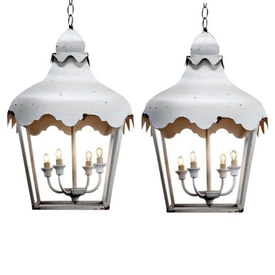 White Scalloped Pendant Lanterns - A Pair - Image 1 of 2