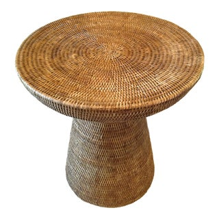 Round Rattan Pedestal Side Table