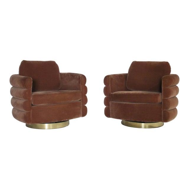 Milo Baughman Thayer Coggin Swivel Chairs - a Pair For Sale