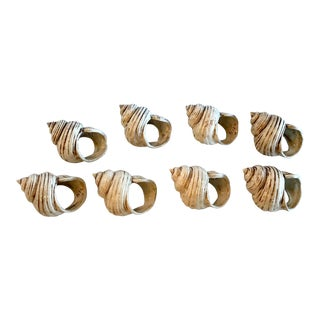 Vintage Ceramic Shell Shaped Napkin Rings - Set of 8 For Sale