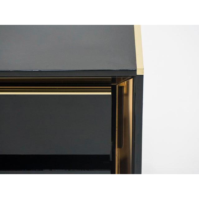 Italian Sandro Petti Black Lacquered Brass Mirrored Nightstands Tables, 1970s For Sale - Image 6 of 13