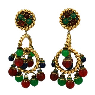 Ornate French Haute Couture Earclips For Sale