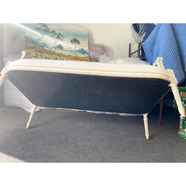 Antique French Grey White Painted Settee Upholstered in Off White Linen For Sale - Image 12 of 13