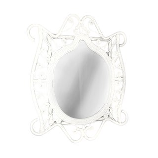 Vintage White Frame Wicker Wall Mirror For Sale