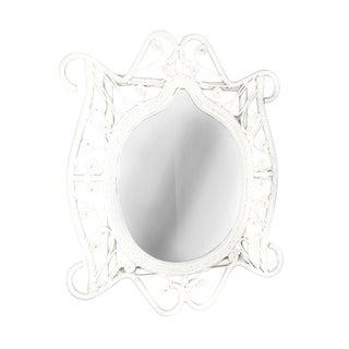 Vintage White Frame Wicker Wall Mirror