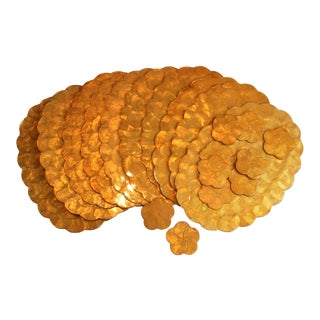 1980s Vintage Capiz Shell Scalloped Placemats & Coasters - Set of 20 For Sale