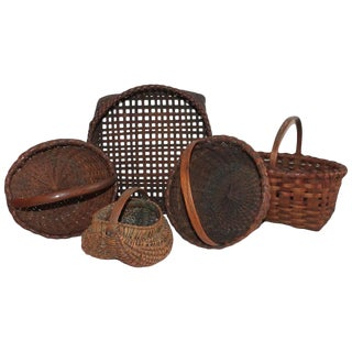 Collection of Five 19th Century American Baskets For Sale