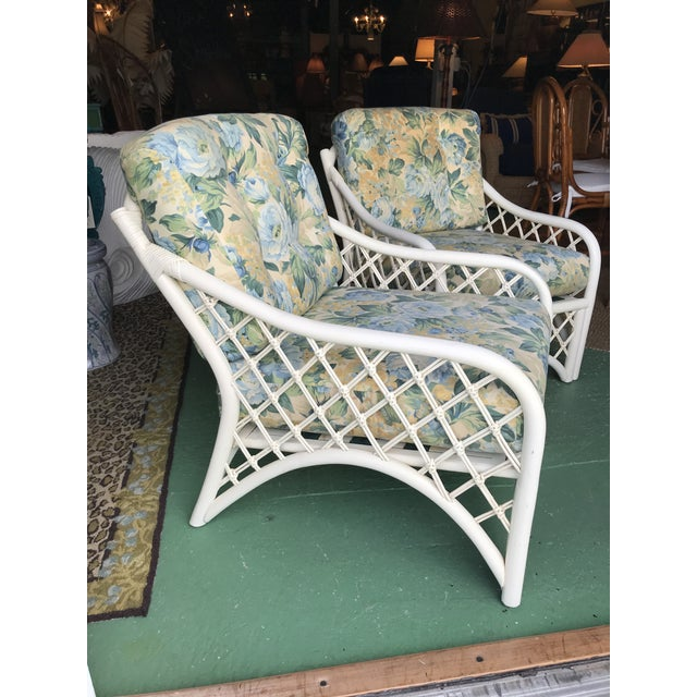 Vintage Coastal Criss Cross Rattan Lounge Chairs-A Pair For Sale - Image 11 of 11