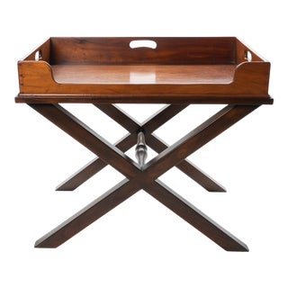 19th Century English Mahogany Butler's Tray Table For Sale