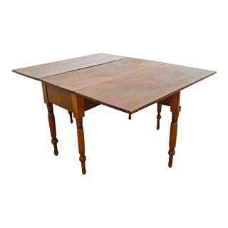 Antique Early Cherry Drop Leaf Spindle Legs Table Console For Sale