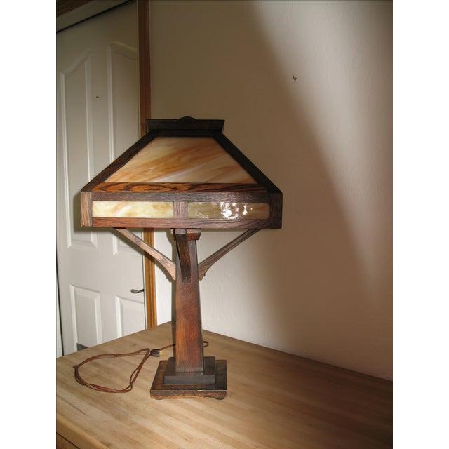 Vintage Antique Arts & Crafts Mission Oak Lamp - Image 7 of 7