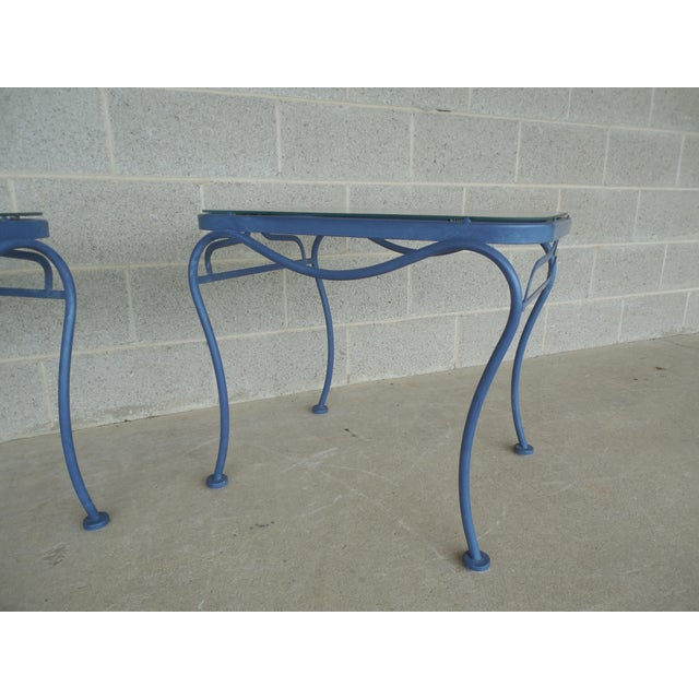 Vintage Woodard Hampton Park Pair Glass Top End Tables Model #1A052903 - Image 6 of 8