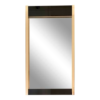 1970's Ello Black Glass and Brass Wall Mirror For Sale