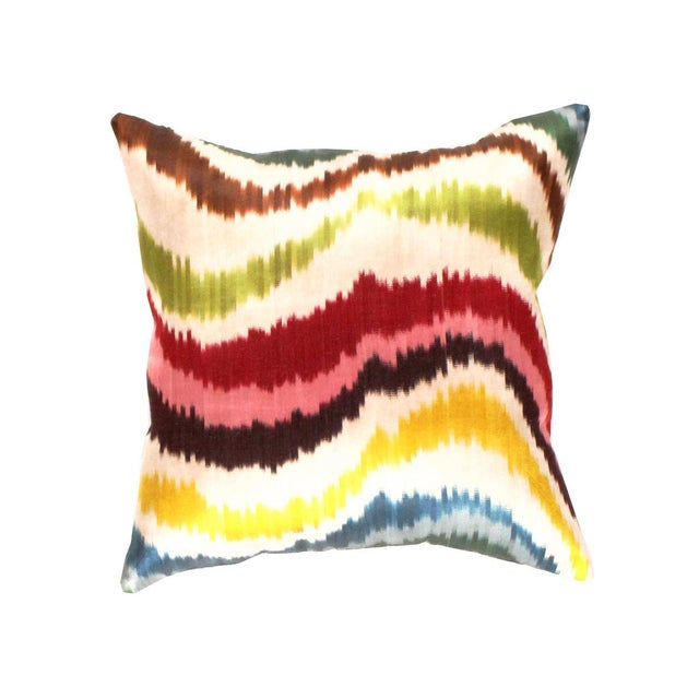 Pasargad Oasis Collection Silk Velvet Ikat Pillow For Sale - Image 4 of 4