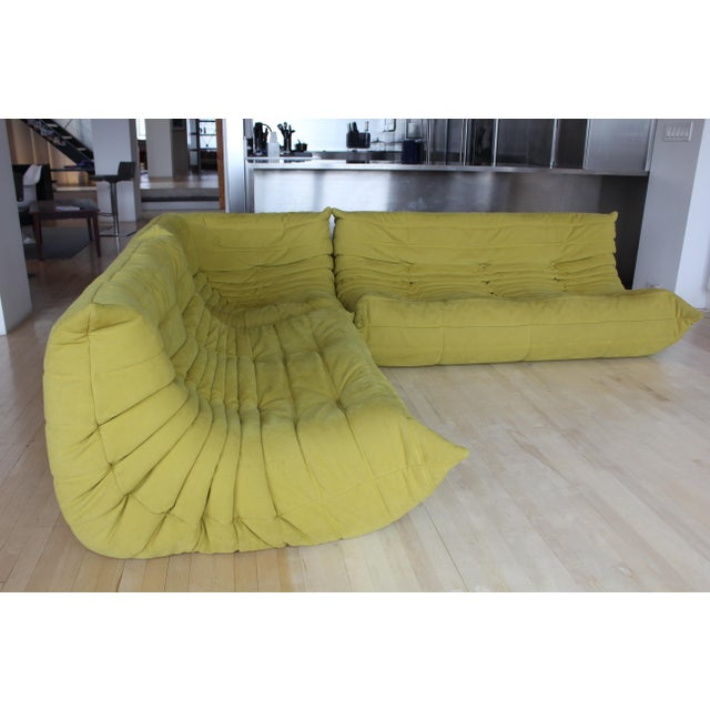 A super-comfy and stylish sectional with pop! 3-piece modular sofa made by Ligne Roset. The armless seating system has 3...