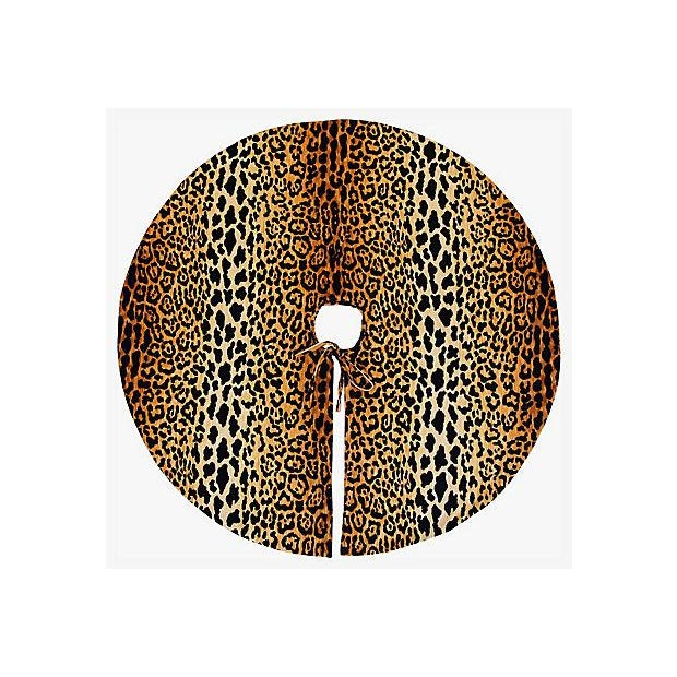 """Custom Tailored X-Large 55"""" Leopard Velvety Christmas Tree Skirt - Image 2 of 11"""
