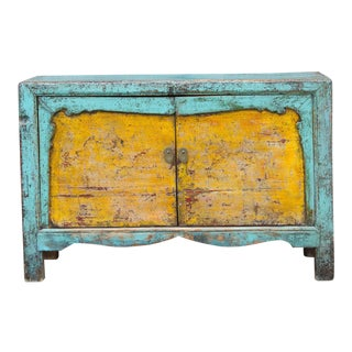 Vintage Painted Asian Buffet Cabinet For Sale
