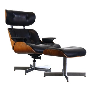 Mid Century Modern Lounge Chair and Ottoman by Selig For Sale